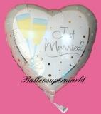 Hochzeits-Luftballon mit Helium, Just Married, Sekt, Hochzeitsglückwünsche und Hochzeitsgeschenk
