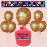 Luftballons Helium Einweg Set, goldene Hochzeit Luftballons, Zahl 50, Sternchen und Luftblasen