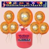 Luftballons Helium Einweg Set, Luftballons, Zahl 50, Lorbeerkranz