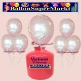 Luftballons Helium Einweg Set, silberne Luftballons, Zahl 25, Silberhochzeit