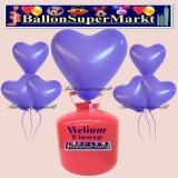 Luftballons Helium Einweg Set, Herzluftballons, lila, 50 Stück