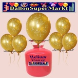 Luftballons Helium Einweg Set, Hochzeit, Just Married Luftballons, Gold, 30 Stück