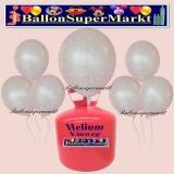 Luftballons Helium Einweg Set, Hochzeit, Just Married Luftballons, Silber, 30 Stück