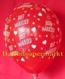 Luftballons Hochzeit, Just Married, Rot, 25 Stück