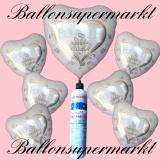 Folienballons zur Hochzeit, Wedding Wishes, Tauben, Ringe, inklusive Helium-Einweg-Miniflasche