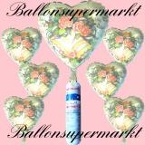 Folienballons zur Hochzeit, Wedding Wishes, Flowers, inklusive Helium-Einweg-Miniflasche