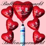 Folienballons zur Hochzeit, Alles Gute zur Hochzeit, Rot, inklusive Helium-Einweg-Miniflasche