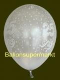 Luftballons Hochzeit, Silberne Hochzeit, Zahl 25, 10 Stück