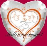 Hochzeits-Luftballon mit Helium, 25 Silberhochzeit, Hochzeitstauben, Hochzeitsglückwünsche und Hochzeitsgeschenk